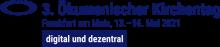 Das Logo des ÖKT ist ein horizontal schwebender Kreis, welcher aus vielen kleinen Punkten zusammen gesetzt ist. Rechts daneben steht der Schriftzug: 3. Ökumenischer Kirchentag. Eine Zeile darunter steht Frankfurt am Main, 13 bis 16 Mai. Eine Zeile darunter steht digital und dezentral.
